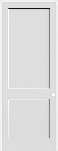 "8'0"" Tall 2-Panel Shaker Primed Interior Prehung Wood Door Unit"