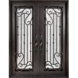 "62"" x 97"" Affinity Prehung Iron Double Door Unit"