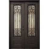 "62"" x 97"" Baton Rouge Iron Prehung Double Door Unit"