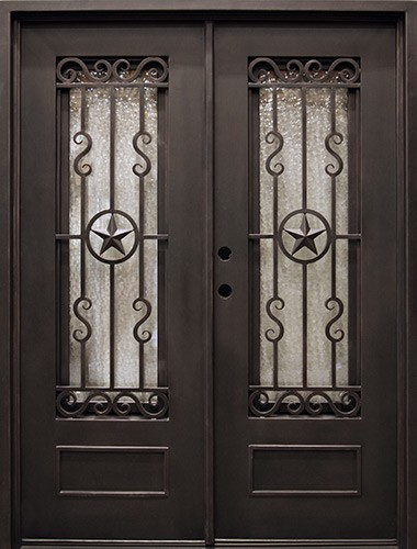 "62"" x 81"" Texas Star Iron Prehung Double Door Unit"