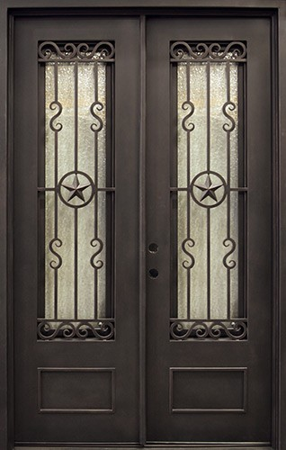 "62"" x 97"" Texas Star Iron Prehung Double Door Unit"