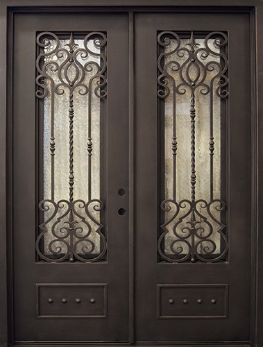 "74"" x 97"" Baton Rouge Iron Prehung Double Door Unit"