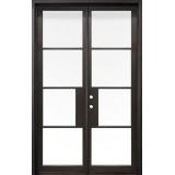 "62"" x 97"" Modern 4-Lite Thin Bar Low-E Iron Prehung Double Door Unit"