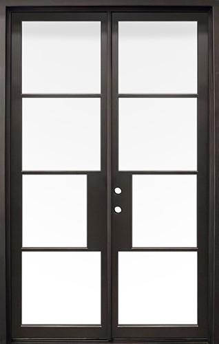 "62"" x 97"" Modern 4-Lite Iron Prehung Double Door Unit"