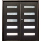 "74"" x 81"" Modern 5-Lite Iron Prehung Double Door Unit"