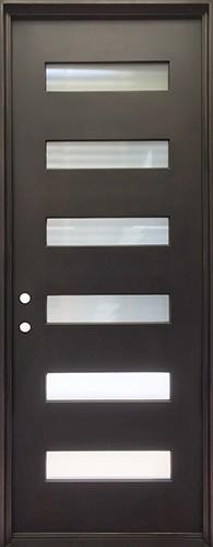 """38"""" x 97"""" Modern 6-Lite Iron Prehung Door Unit"""