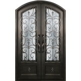 "62"" x 97"" Fleur-de-lis Prehung Iron Double Door Unit"