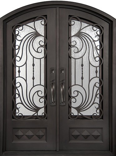 "74"" x 97"" Ocean Wave Prehung Iron Double Door Unit"