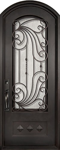 "40"" x 82"" Ocean Wave Prehung Iron Door Unit"