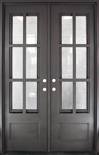 "62"" x 81"" Tiffany Square Top Prehung Iron Double Door Unit"