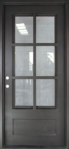"37"" x 81"" Tiffany Square Top Prehung Iron Door Unit"