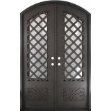 "74"" x 97"" Trellis Prehung Iron Double Door Unit"