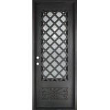 "37"" x 81"" Trellis Square Top Prehung Iron Door Unit"