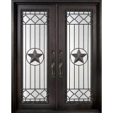 "62"" x 97"" Star Prehung Iron Double Door Unit"