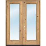 "Exterior 8'0"" 1-Lite Low-E Knotty Alder Wood Door French Unit"