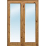 "Interior 8'0"" 1-Lite Knotty Alder Wood Door French Unit"
