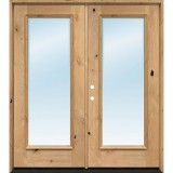 "Exterior 6'8"" 1-Lite Low-E Knotty Alder Wood Door French Unit"