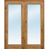 """6'8"""" Tall Clear Glass Knotty Alder Interior Wood French Double Double Unit"""
