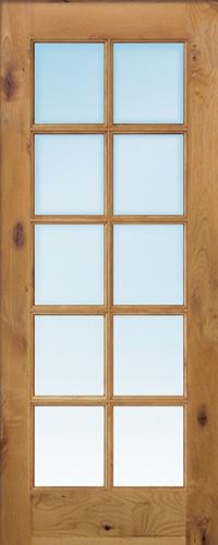 """Exterior 6'8"""" 10-Lite TDL Low-E Knotty Alder Wood Door Slab"""