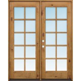 "Exterior 6'8"" 10-Lite TDL Low-E Knotty Alder Wood Door French Unit"