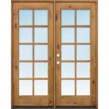 "Exterior 6'8"" 10-Lite TDL Low-E Knotty Alder Wood Door French Unit"