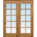 "Interior 6'8"" 10-Lite TDL Knotty Alder Wood Door French Unit"