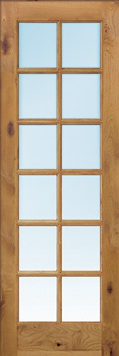 "Exterior 8'0"" 12-Lite TDL Low-E Knotty Alder Wood Door Slab"
