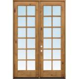 "Exterior 8'0"" 12-Lite TDL Low-E Knotty Alder Wood Door French Unit"
