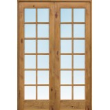 "Interior 8'0"" 12-Lite TDL Knotty Alder Wood Door French Unit"