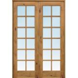 "Interior 8'0"" 12-Lite TDL Knotty Alder Wood Door French Unit"