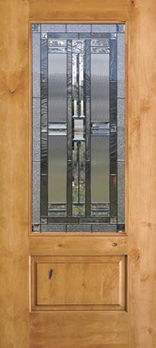 3/4 Lite Knotty Alder Wood Door Slab #277