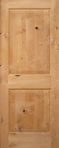 "Interior 6'8"" 2-Panel Square Top Knotty Alder Wood Door Slab"