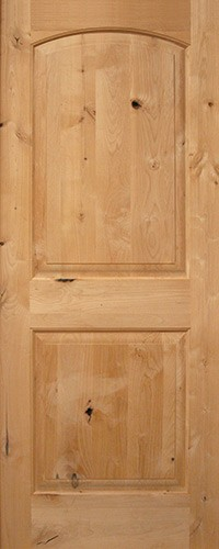 "Interior 6'8"" 2-Panel Arch Knotty Alder Wood Door Slab"