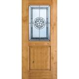 Half Lite Star Knotty Alder Wood Door Slab #40