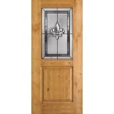 Half Lite Fleur-de-lis Knotty Alder Wood Door Slab #41