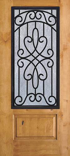3/4 Iron Grille Knotty Alder Wood Door Slab #62