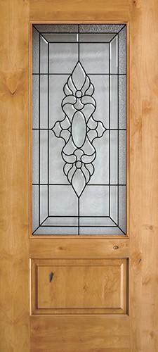 3/4 Lite Knotty Alder Wood Door Slab #73