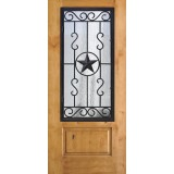 3/4 Iron Grille Texas Star Knotty Alder Wood Door Slab #75