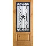 3/4 Iron Grille Texas Star Knotty Alder Wood Door Slab #75