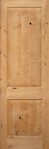 "Interior 8'0"" 2-Panel Square Top Knotty Alder Interior Wood Door Slab"