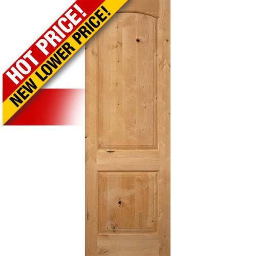 """Interior 8'0"""" x 1-3/4"""" 2-Panel Arch Knotty Alder Interior Wood Door Slab"""