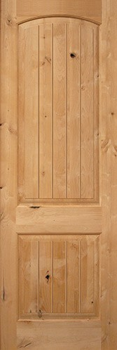 "Interior 8'0"" x 1-3/4"" 2-Panel Arch V-Groove Knotty Alder Interior Wood Door Slab"
