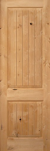 "Exterior 8'0"" 2-Panel Square Top V-Groove Knotty Alder Wood Door Slab"