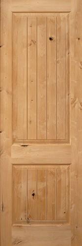 "Interior 8'0"" x 1-3/4"" 2-Panel Square Top V-Groove Knotty Alder Interior Wood Door Slab"