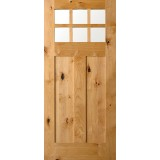 6-Lite Shaker Craftsman Knotty Alder Wood Door Slab