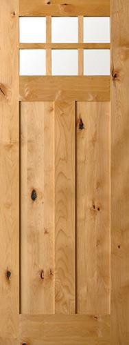"8'0"" 6-Lite Shaker Craftsman Knotty Alder Wood Door Slab"