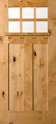 6-Lite Shaker Craftsman Knotty Alder Wood Door Slab with Shelf