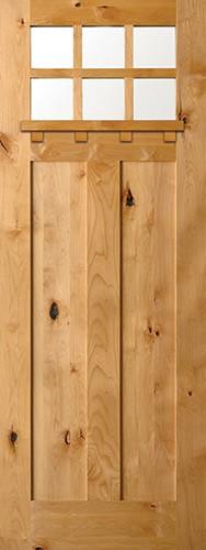 "8'0"" 6-Lite Shaker Craftsman Knotty Alder Wood Door Slab with Shelf"