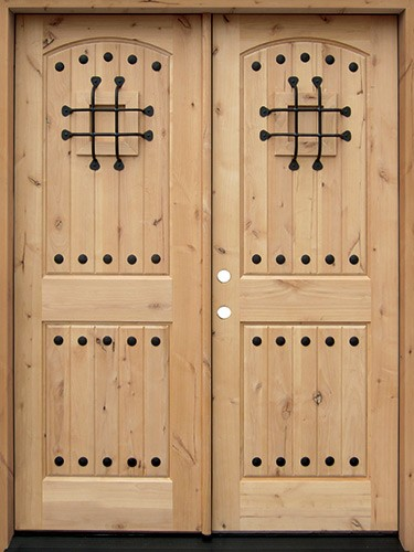Rustic Knotty Alder Wood Double Door Unit #UK20
