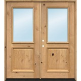 Half Lite Knotty Alder Wood Double Door Unit